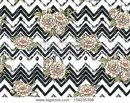 Seamless pattern with flowers on the zig zag background. Floral background with peonies