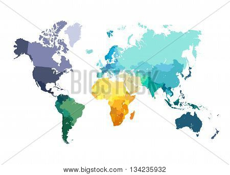 Color World Map Vector Illustration. Empty template without country names text. Isolated on white background with different colors of continents and countries.