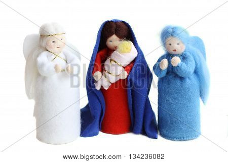 Christmas nativity - Saint Mary Jesus baby and angels isolated on white
