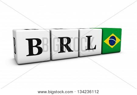Brazil real currency exchange market and financial trading concept with brl code sign and the Brazilian flag on cubes 3D illustration on white background.