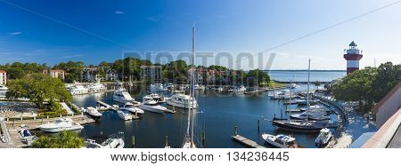 Panorama of Harbortown and lighthouse in Hilton Head, South Carolina