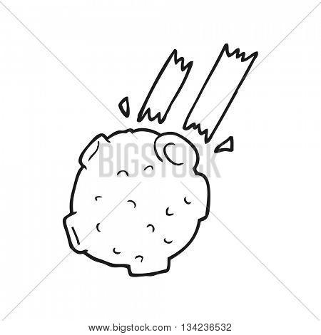 freehand drawn black and white cartoon meteor