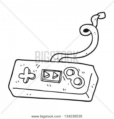 freehand drawn black and white cartoon game controller