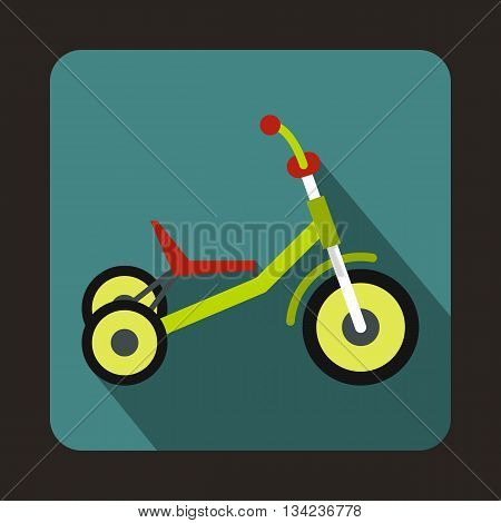 Tricycle icon in flat style with long shadow. Transport symbol