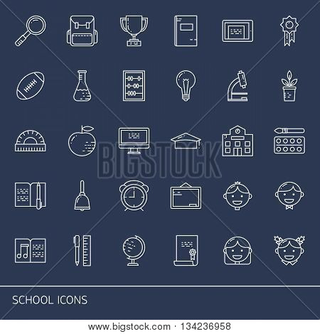 Education and learning line icons set. School objects and college items teaching symbols and educational equipment. Isolated on dark background.