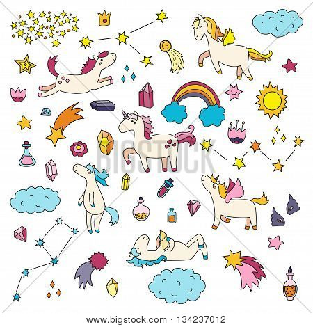 Cute unicorn and pony collection with magic items rainbow fairy wings crystals clouds potion. Hand drawn flat line style. Vector doodles illustrations.
