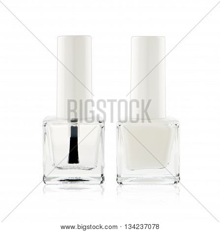 French manicure with white nail polish, and top coat shine isolated on white