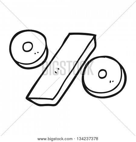 freehand drawn black and white cartoon percentage symbol