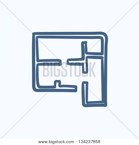 Layout of the house vector sketch icon isolated on background. Hand drawn Layout of the house icon. Layout of the house sketch icon for infographic, website or app.
