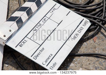 close up image of Film Slate on set