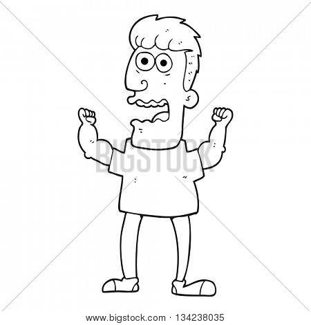 freehand drawn black and white cartoon stressed man