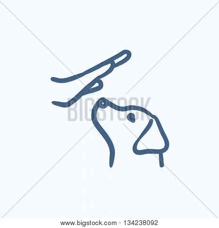 Dog training vector sketch icon isolated on background. Hand drawn Dog training icon. Dog training sketch icon for infographic, website or app.