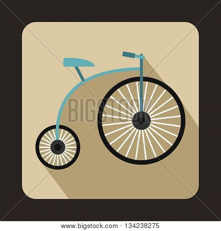 Penny-farthing icon in flat style with long shadow. Transport symbol