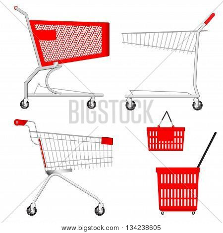 Metallic Shopping Cart and red plastic Basket