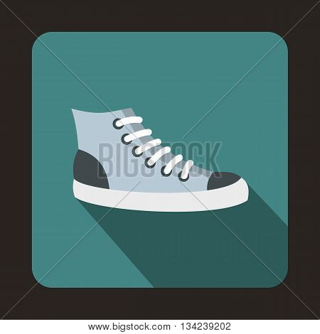 Sneakers icon in flat style with long shadow. Shoes symbol