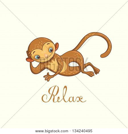 relaxed monkey. vector illustration with cute character