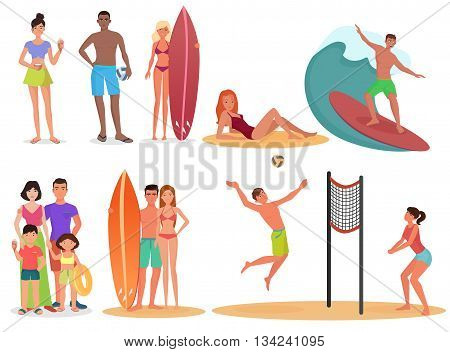 People and couples on active sport vacation beach collection. Summer holidays set