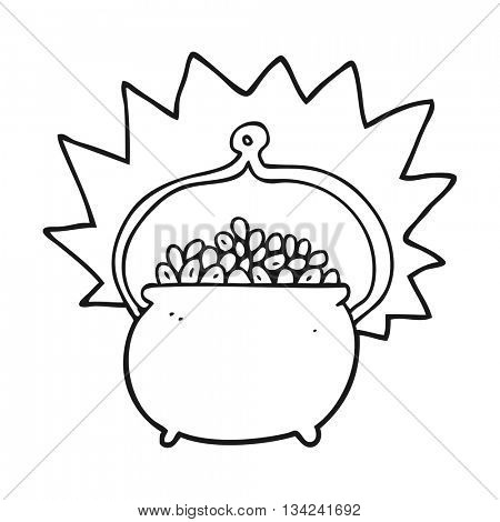 freehand drawn black and white cartoon pot of gold