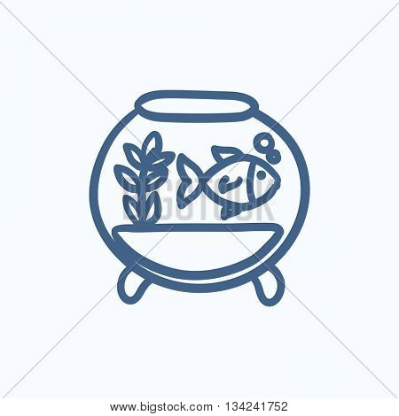 Fish in aquarium vector sketch icon isolated on background. Hand drawn Fish in aquarium icon. Fish in aquarium sketch icon for infographic, website or app.