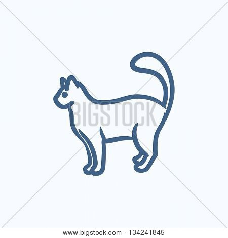 Cat vector sketch icon isolated on background. Hand drawn Cat icon. Cat sketch icon for infographic, website or app.