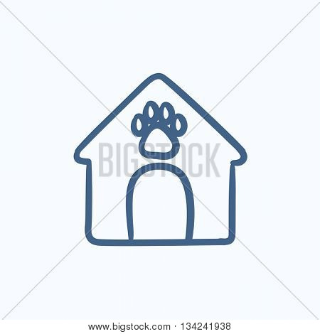 Doghouse vector sketch icon isolated on background. Hand drawn Doghouse icon. Doghouse sketch icon for infographic, website or app.