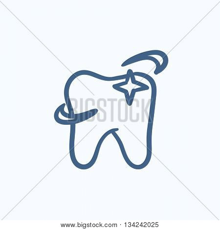 Shining tooth vector sketch icon isolated on background. Hand drawn Shining tooth icon. Shining tooth sketch icon for infographic, website or app.