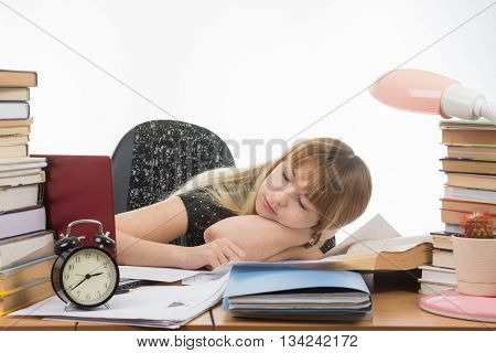 Student Fell Asleep At The Table Getting Ready To Pass The Graduation Project