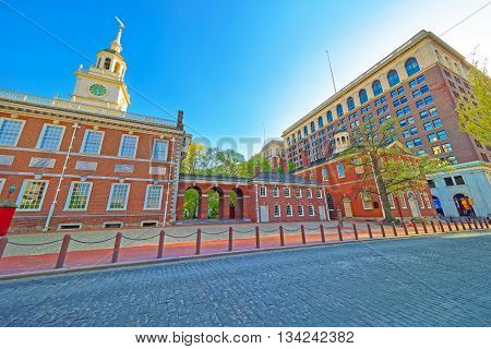Philadelphia, USA - May 5, 2015: Independence Hall and Congress Hall of Philadelphia Pennsylvania USA. It is the place where the US Constitution and the US Declaration of Independence were adopted.