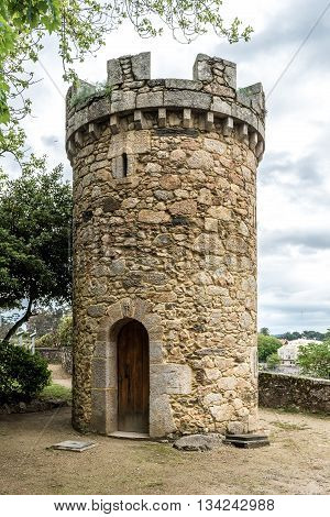 Medieval tower or castle in Santa Cruz island Oleiros Rias Altas A Coruna Spain