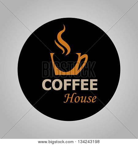 Coffee House Logotype Isolated On Black Background | Coffee Cup Icon | Vector Illustration