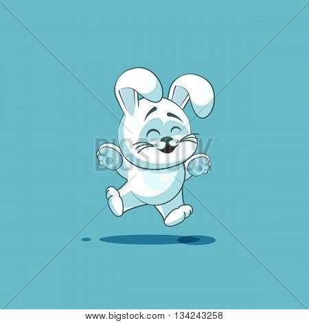 Vector Stock Illustration isolated Emoji character cartoon White leveret jumping for joy, happy sticker emoticon for site, info graphic, video, animation, websites, e-mails, newsletters, reports, comics