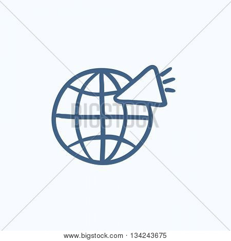 Globe with loudspeaker vector sketch icon isolated on background. Hand drawn Globe with loudspeaker icon. Globe with loudspeaker sketch icon for infographic, website or app.