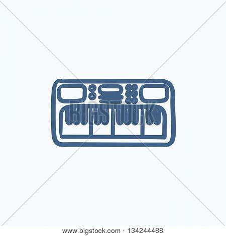 Synthesizer vector sketch icon isolated on background. Hand drawn Synthesizer icon. Synthesizer sketch icon for infographic, website or app.