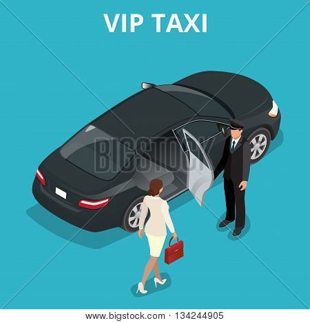 VIP taxi concept. A pretty business woman getting into a taxi cab. VIP service flat 3d vector isometric illustration