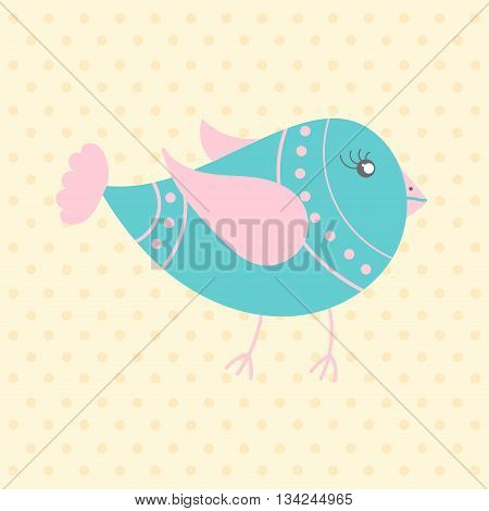 Cute blue bird in cartoon style on a dotted background. Funny little bird. Fauna symbol. Perfect for greeting cards design children's clothing.