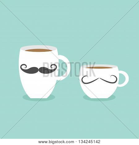 Coffee cup mug moustaches and lips. Blue background Flat modern simply design Vector illustration