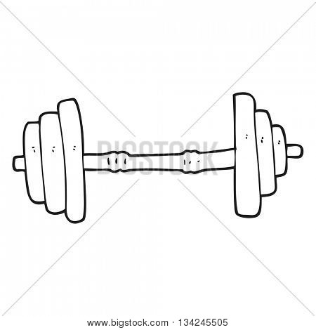 freehand drawn black and white cartoon barbell