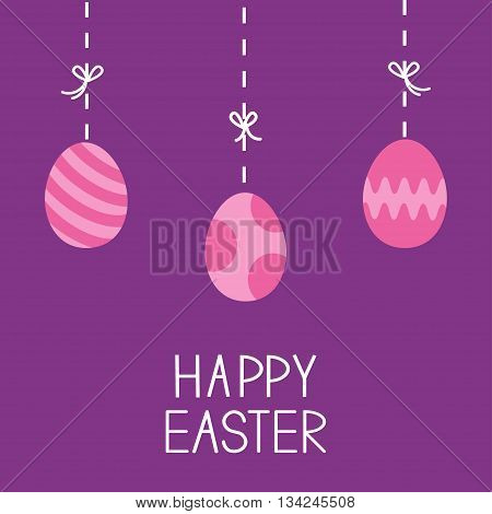 Happy Easter. Hanging painted eggs. Dash line with bows. Greeting card. Flat design style. Vector illustration