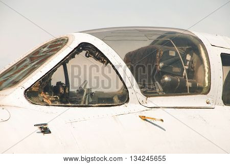 Old abandoned Soviet aircraft fighter cockpit detail