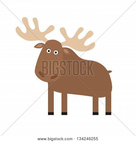 Moose elk. Cute cartoon funny character. Forest amimal collection. Isolated. White background Vector illustration.