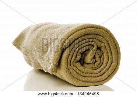 fleece blanket in khaki or olive green color
