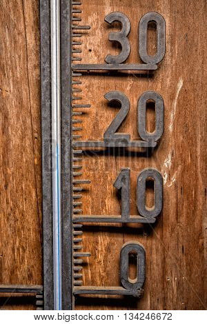 Vintage Thermometer Celsius 20 Degrees Blue Level