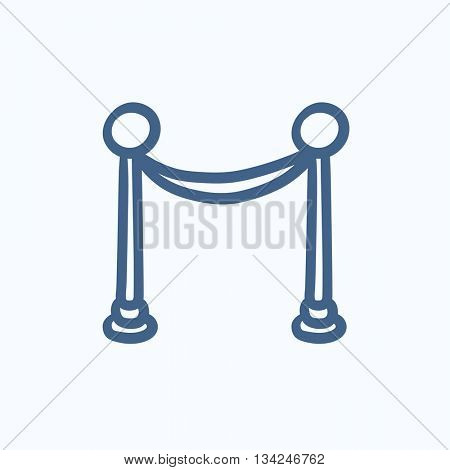 Portable protective rack with tape vector sketch icon isolated on background. Hand drawn Portable protective rack with tape icon. Portable protective rack sketch icon for infographic, website or app.
