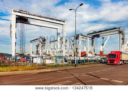 Newly built Gantry Crane in port of Gdynia Poland.
