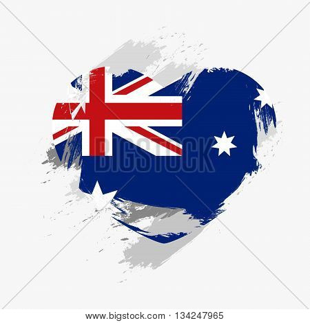 Vector Grunge Flag Of Australia Isolated On Heart