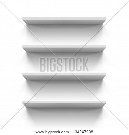 Empty gorizontal bookshelves on the white wall