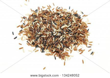 Brown, red and black rice mix on isolate white background
