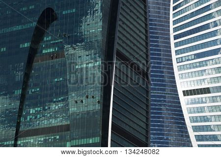 Industrial Climbers Cleaned Glass Wall Of A Skyscraper