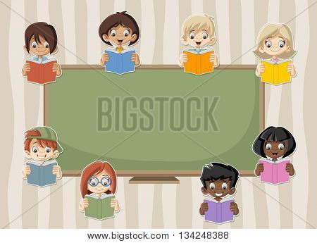 Card with cartoon student children reading books in the classroom with blackboard.