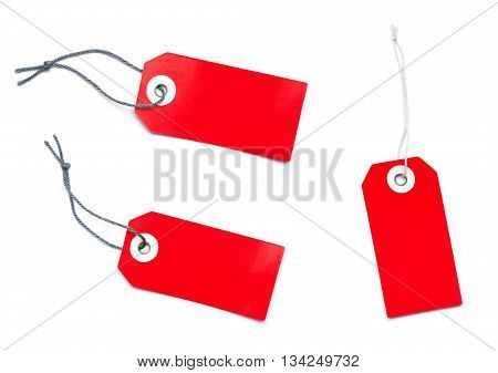 Three Red Sales Label Tags With Copy Space